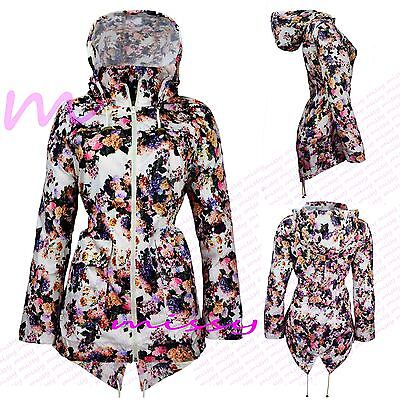 NEW Girls Raincoat Mac Girl Cagoule Floral Shower Proof Jacket Age 7 TO 13 Years