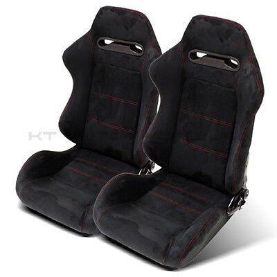 2X Lightweighted Tiltable+Slider Black Suede Leather/red Stitched Bucket Seats