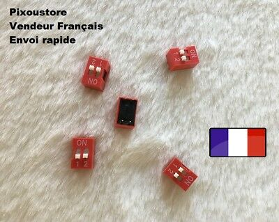 Lot de 5 micro interrupteur DIP 2 positions ON/OFF neuf DS2 Switch