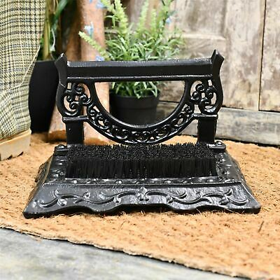 Black Cast Iron Victorian Styled Freestanding Boot Brush and Scraper