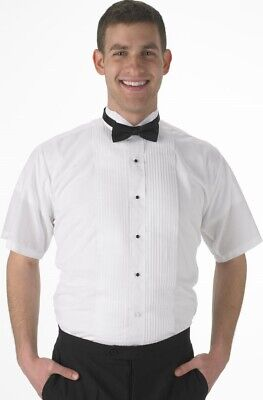 NEW Mens SHORT SLEEVE WING TIP White Pleated Formal Tuxedo Shirt ALL SIZES