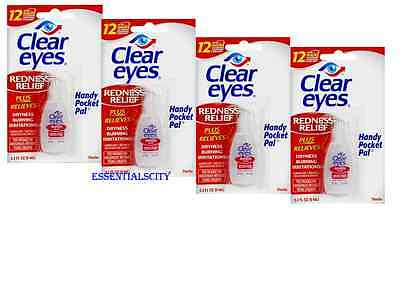 4 Packs Clear Eyes Drop  REDNESS RELIEF  0.2FL oz (6ml) Upto 12 Hours