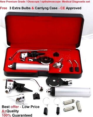 NEW ENT Ophthalmoscope Otoscope Nasal Diagnostic Set Kit + 3 Extra Bullb FREE