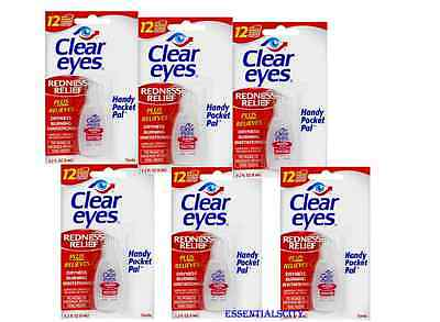 6 Packs Clear Eyes Drop  REDNESS RELIEF  0.2FL oz (6ml) Upto 12 Hours