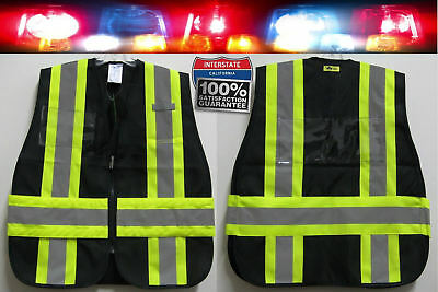 High Visibility Reflective Traffic Safety Vest Heavy Duty Tough Black