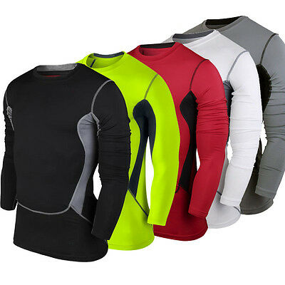 Men GYM Sports Compression Fit Long Sleeve T-Shirt Jersey Base Layer Tops