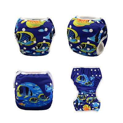 AlvaBaby Swim Diaper Washable Reusable Adjustable Pool pant with Snaps 10-40lbs