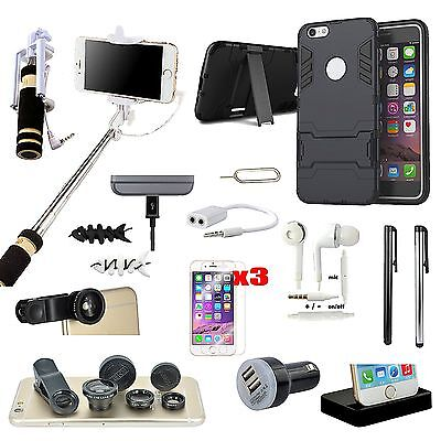 Case Cover+Charger+Selfie Stick Monopod+Lens Accessory For iPhone 6 / iPhone 6S