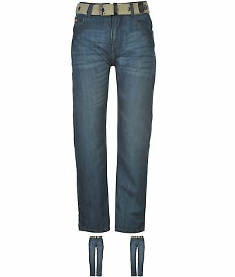 SALDI Lee Cooper Belted Jeans Junior Mid Wash