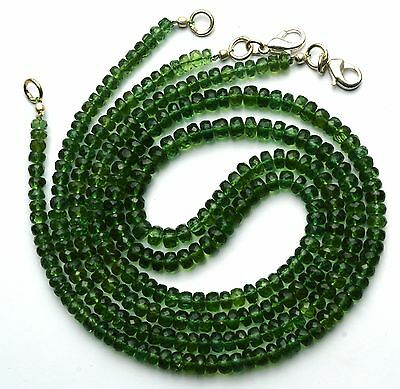 Natural Gem Super Quality Green Apatite 4-5MM Faceted Rondelle Bead Necklace 18""