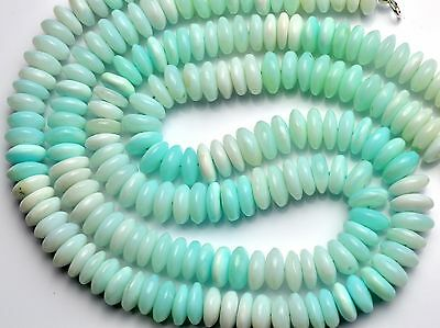 """Natural Gemstone Rare Peruvian Blue Opal Smooth 9-10MM Rondelle Bead Necklace16"""""""