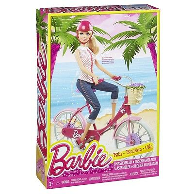 Barbie Let's Go Bike! Comes with Helmet, Bicycle Shoes and Basket - New in Box