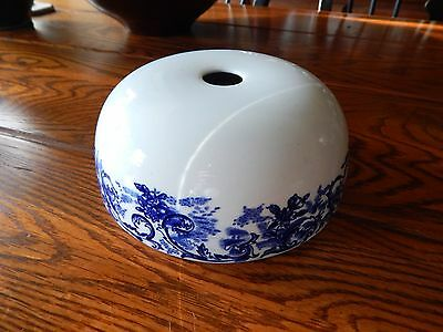 """Antique Flow Blue & White Lid (only) Steam Cover Unknown Maker 6 1/4"""" Wide"""
