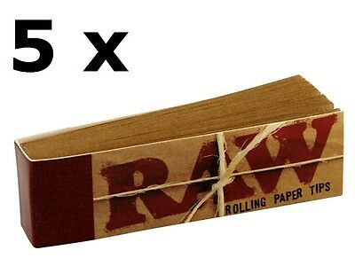5 Raw Tips Classic Natural Rolling Filter Tips unrefined (250 leaves)