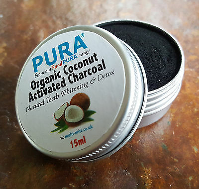 PURA® 20ML COCONUT Activated Charcoal Powder - Organic Teeth Whitening & Detox!!