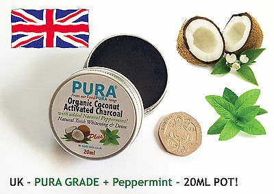 PURA® 20ML COCONUT Activated Charcoal + PEPPERMINT - Organic Teeth Whitening!