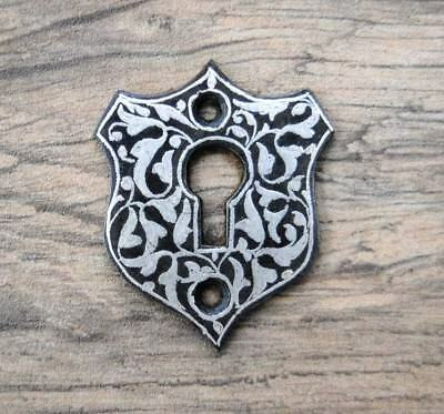 Vintage Silver damascened Door Trunk  Escutcheons Key Hole Cover Arabesque desig
