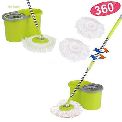 GRAY Stainless Steel 360°Rolling Magic Spin Mop & Bucket Set 2 Microfiber Heads