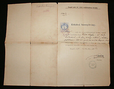 HUNGARY Confirmation Document that Citizen has no prior convictions - Seged 1890