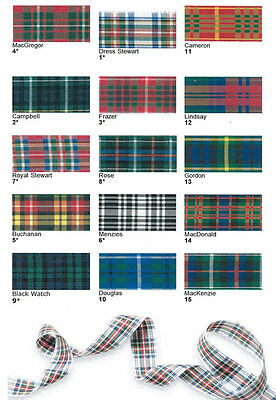 Berisfords Tartan Ribbon 7 10 16 25 40 & 70mm Scottish Approved Cut to Order