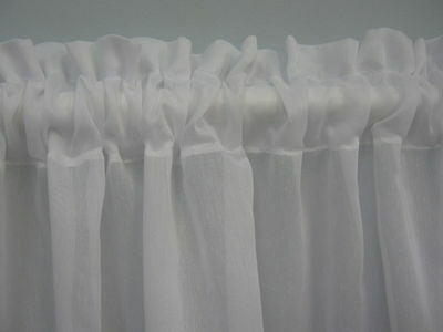 WHITE SHEER READY MADE CURTAIN- For Bathroom, Caravan, Kitchen, 2mt Wide x 70cm