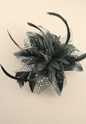 Hair fascinator Large Black Flower and Net Fascinator on a Clear Comb.