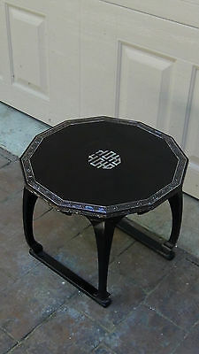 Antique Korean Black Lacquered Mop Inlay On Border,symbol On Center Low Table#1