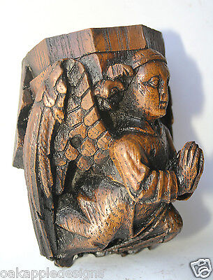 Angel Corbel Medieval Reproduction Cathedral Carving Unique Church Ornament gift