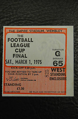 Ticket 1975 League Cup Final  Aston Villa V Norwich City