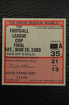 Ticket 1980 League Cup Final  Nottingham Forest V Wolverhampton Wanderers