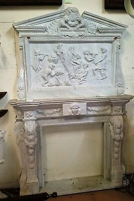 "White Marble Fireplace H 8 ft 7 in x W 71""  Traditional Style"