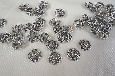 30 Celtic-Style 8mm Silver Coloured Bead Caps #bc3408
