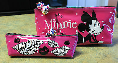 NWT Disney Parks MINNIE MOUSE Eiffel Tower Large & Small Cosmetic Bags Cases