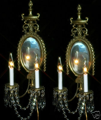 2 Vintage Bronze Brass French Mirror Crystal wall Sconces candle lamps Antique