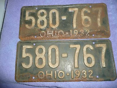 Vintage 1932 Ohio  License Plates  Number 580-767  Barn Fresh