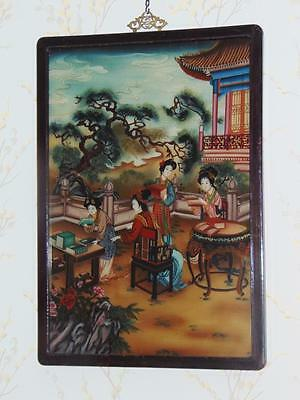 Antique Chinese Painting on Glass Circa 1900