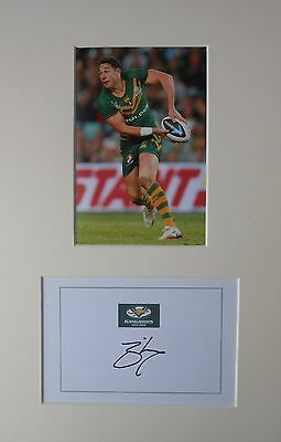 Billy Slater Hand Signed Australia Kangaroos Rugby League Photo Mount.