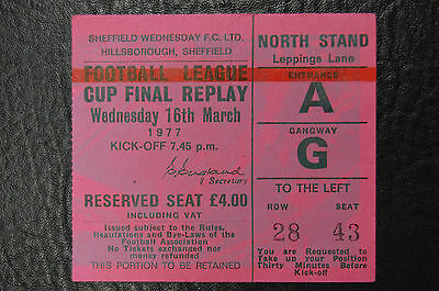 Ticket 1977 League Cup Final  Replay  Aston Villa V Everton