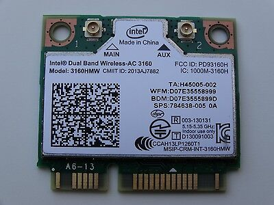 Intel HP Dual Band BT 802.11AC Mini PCIE WiFi Wireless WLAN Card 3160HMW - W024