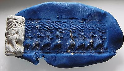ZURQIEH - cy9- ANCIENT CANAANITE FAIENCE CYLINDER SEAL. 1700 - 1550 B.C