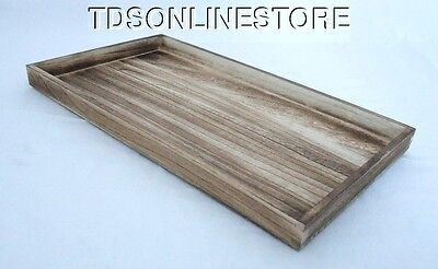 Rustic Antique Oak Color Wood Jewelry Tray