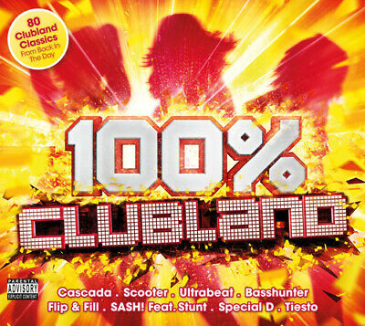 Various Artists : 100% Clubland CD Box Set 4 discs (2016) FREE Shipping, Save £s