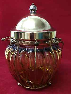 Vintage Amber Glass Candy/cookies Jar With Lid Music Box Made In Japan