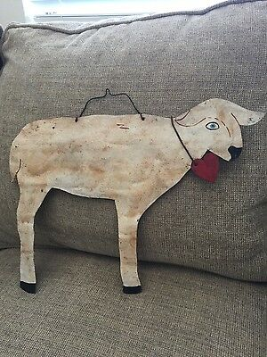 Antique Craftsman Rustic Tin Calf Sheep Moo with Heart Pendant signed Sprinkle