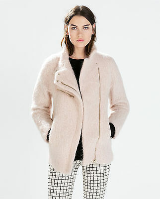 719307dc2 ZARA WOMEN COAT With Funnel Collar Pink S Small