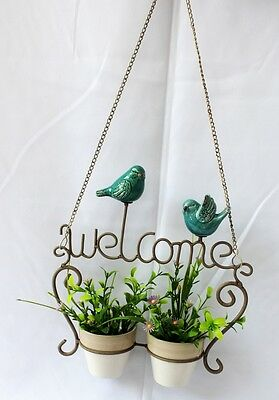 New Metal Welcome Pot Plant Holder with Teal Birds | Fast Shipping | Home Decor