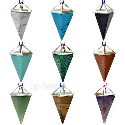 Natural Gemstones Pyramid Pendulum Pointed Reiki Chakra Healing Pendant Beads