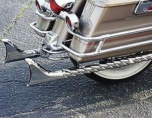 "Harley ""partial Twisted"" Fishtail Exhaust Pipes - Suit The Road King  (Parts)"