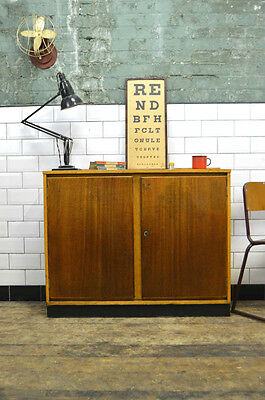 Vintage Industrial Wooden School Lab Cabinet Cupboard Sideboard
