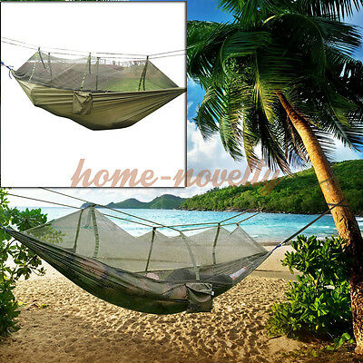 Hot Travel Outdoor Camping Tent Hanging Hammock Bed w Sack & Mosquito Net Green